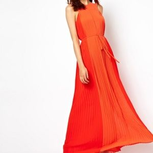 French Connection Orange Pleated Gown